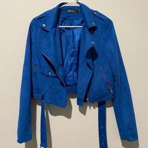 Suede Cobalt Blue Biker Jacket